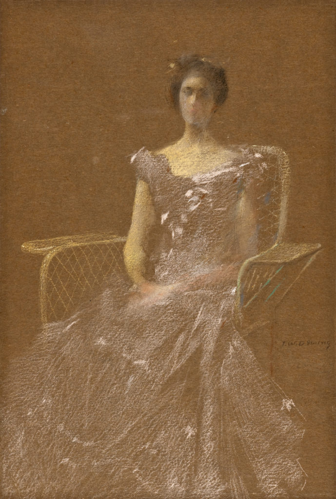 Lady in Rattan Chair by Thomas Wilmer Dewing, pastel on brown paper, 1895-1908
