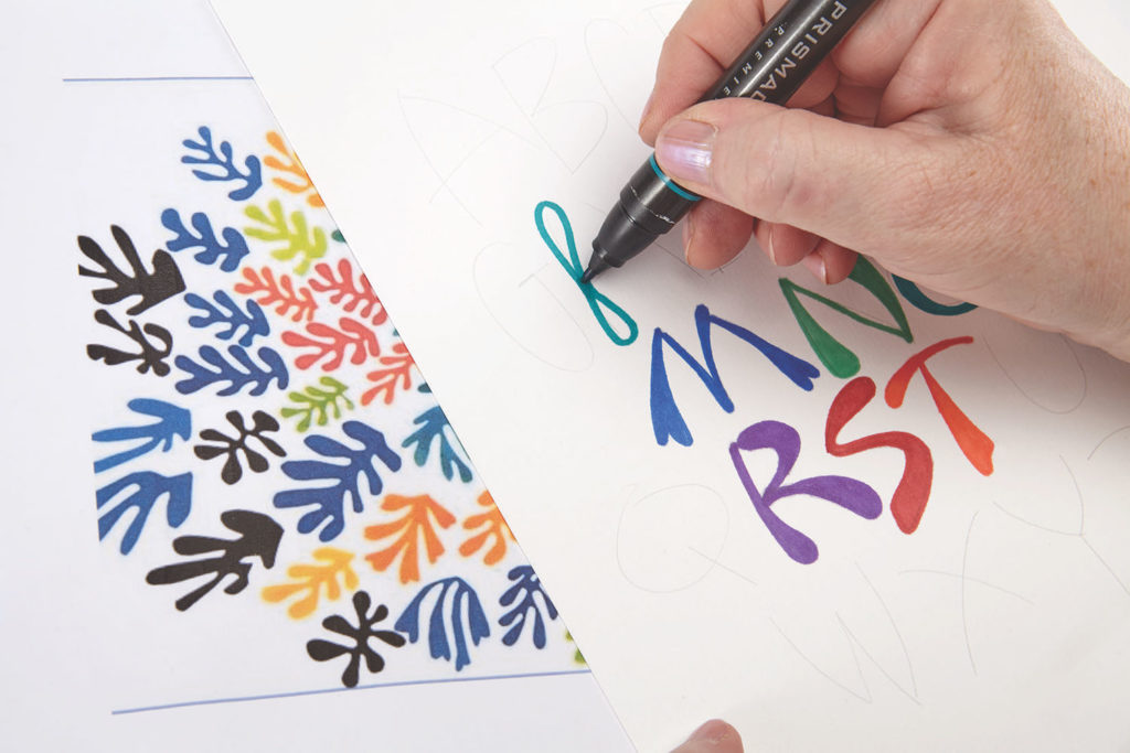 Matisse Inspired, Step 2 | 10 Hand Lettering Techniques with an Artful Spin by Joanne Sharpe | Artists Network