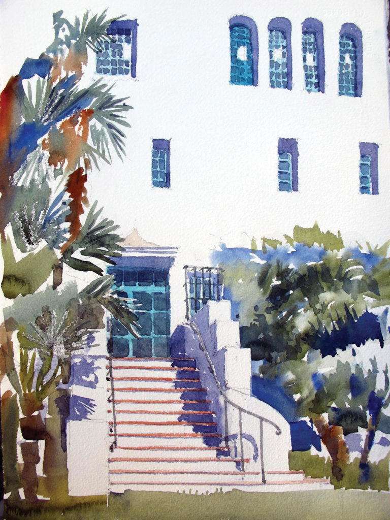 Santa Barbara Courthouse Steps by Stephen Harby, graphite and watercolor on paper, 13x16½