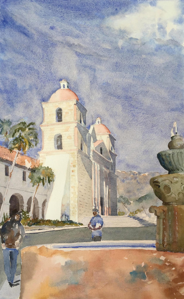 Santa Barbara Mission by Stephen Harby, graphite and watercolor on paper