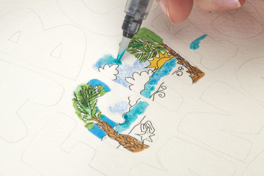 Storybooks and Scenery, Step 3 |10 Hand Lettering Techniques with an Artful Spin by Joanne Sharpe | Artists Network