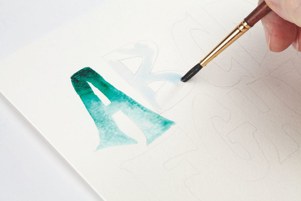 Watercolor Ombre, Step 1 | 10 Hand Lettering Techniques with an Artful Spin by Joanne Sharpe | Artists Network