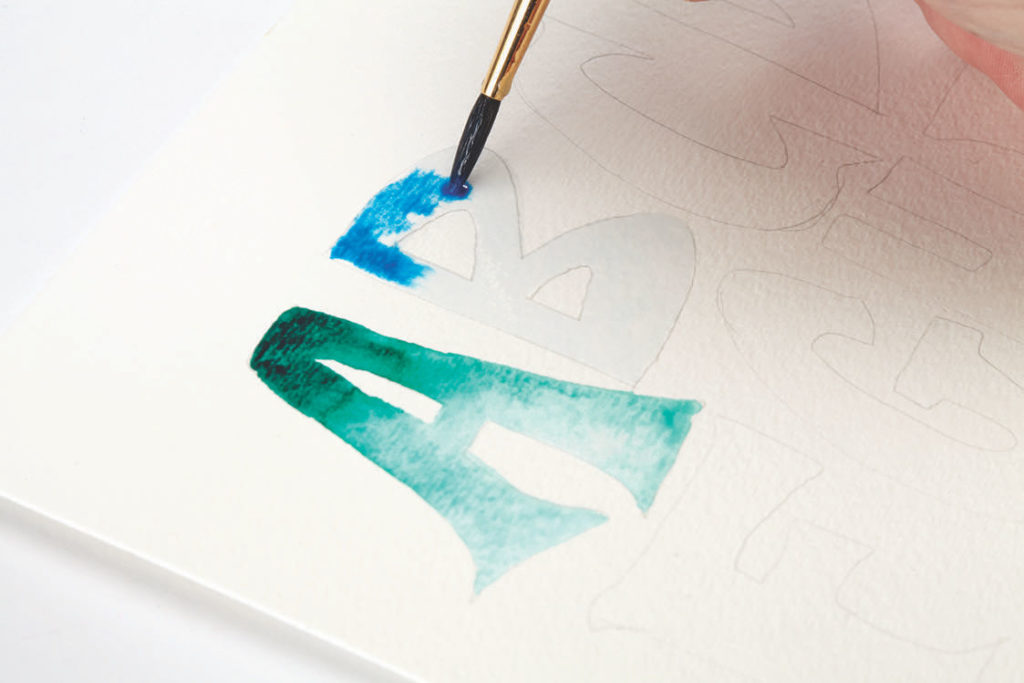 Watercolor Ombre, Step 2 | 10 Hand Lettering Techniques with an Artful Spin by Joanne Sharpe | Artists Network