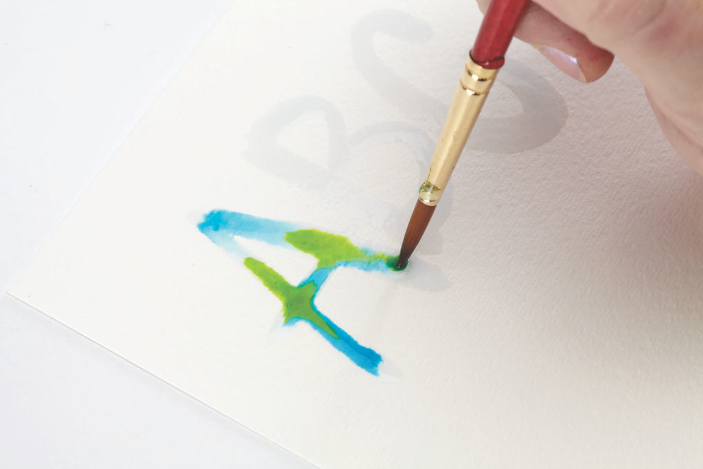 Watercolor Puddlers, Step 2 | 10 Hand Lettering Techniques with an Artful Spin by Joanne Sharpe | Artists Network