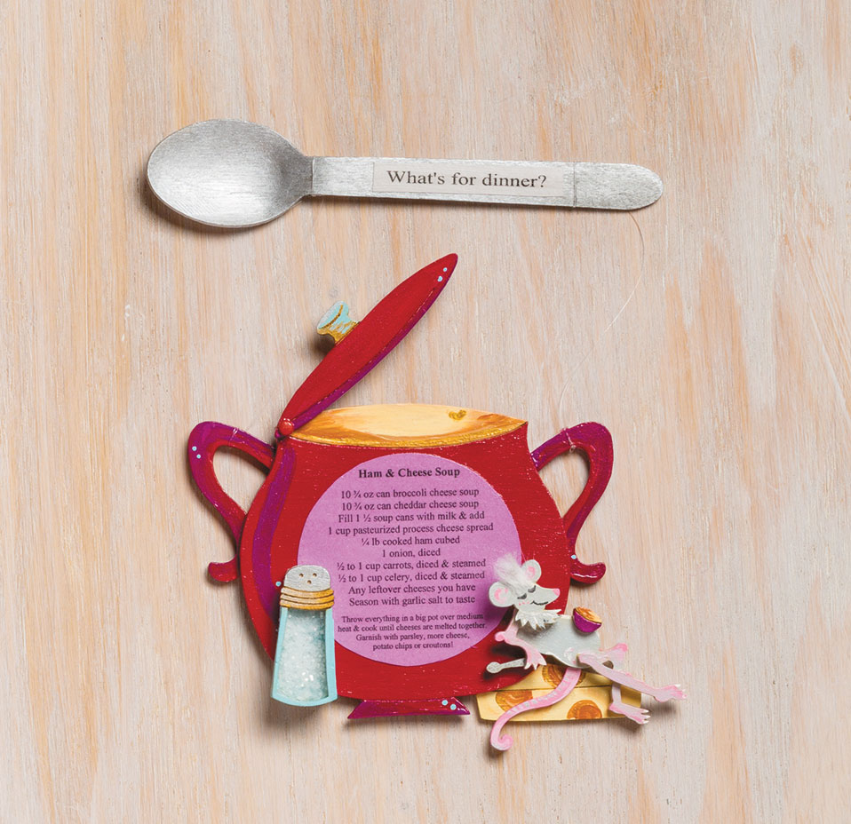 Mixed-media art recipe card soup