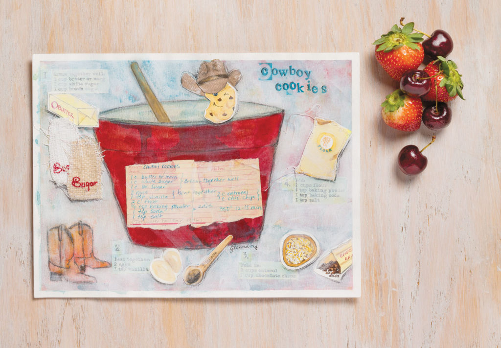 mixed-media art recipe cards cookies