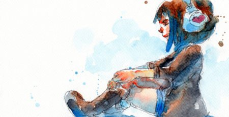 Watercolor Painting of Girl with Headphones, Getty Images | Art Studio Playlists | Finding the Perfect Songs for Your Creative Process