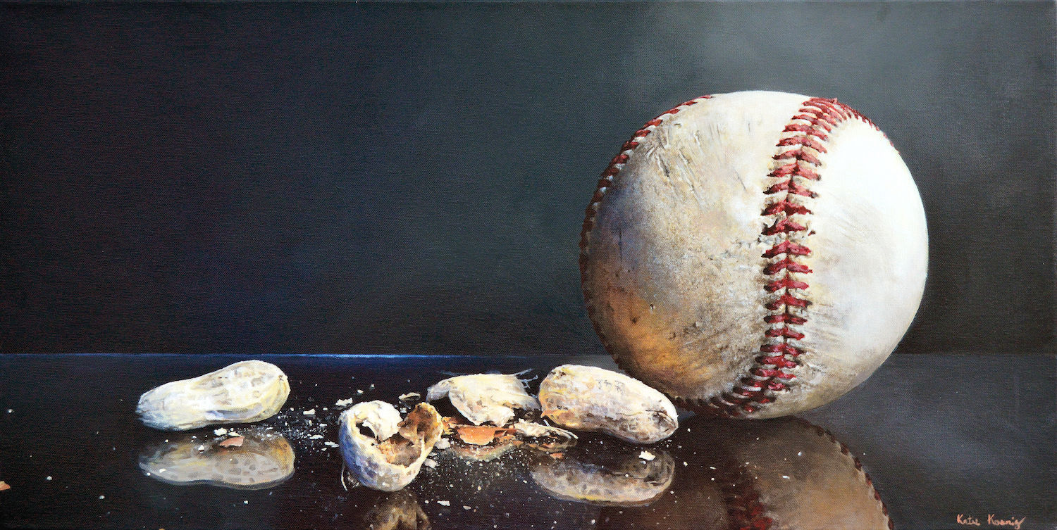 Baseball and Peanuts by Katie Koenig | The Best of Still Life Artwork: 15 Winning Acrylic Paintings to Know from Acrylic Works 5 | Artists Network