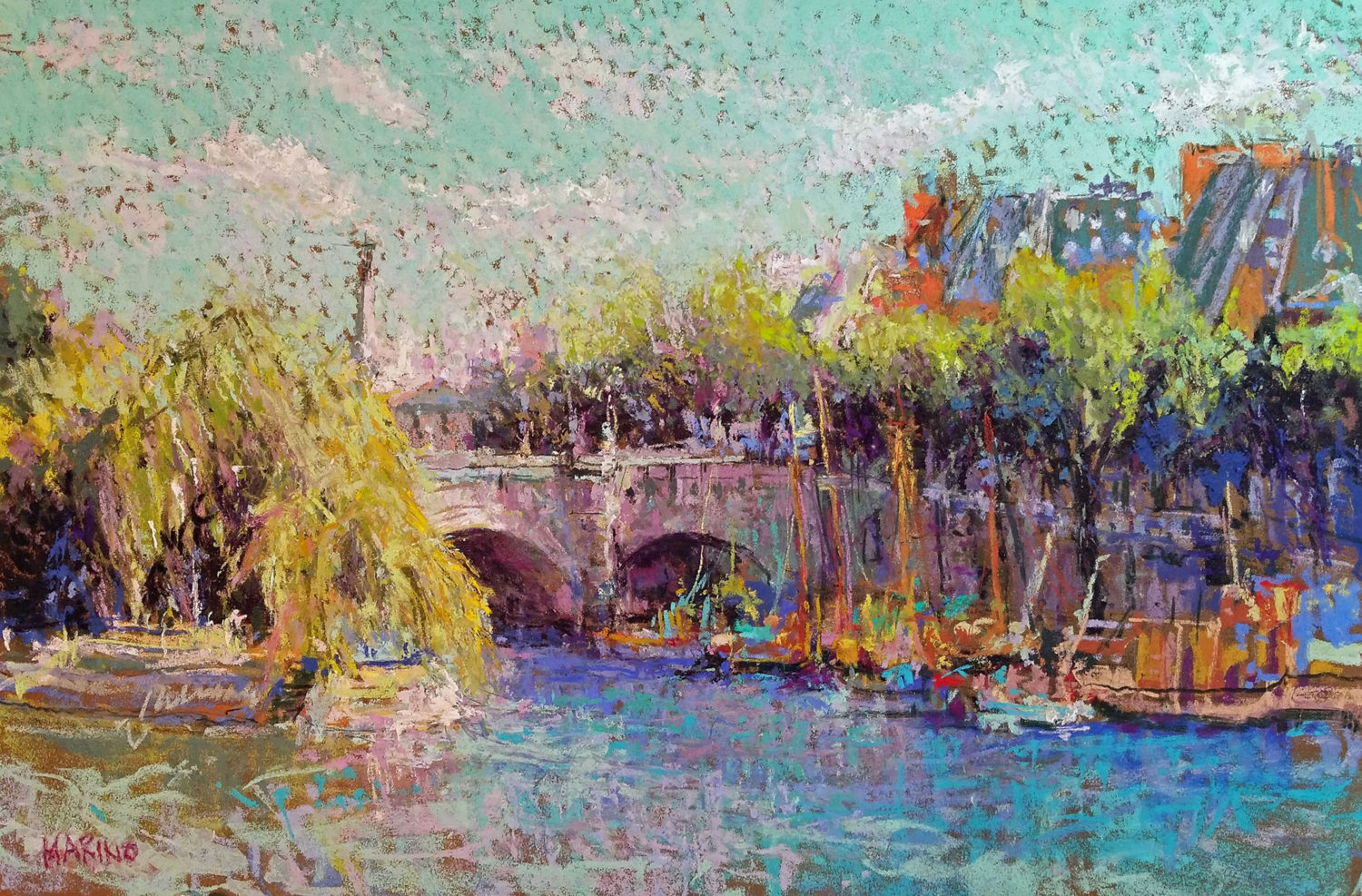 Boats on the Seine by Maria Marino, pastel painting