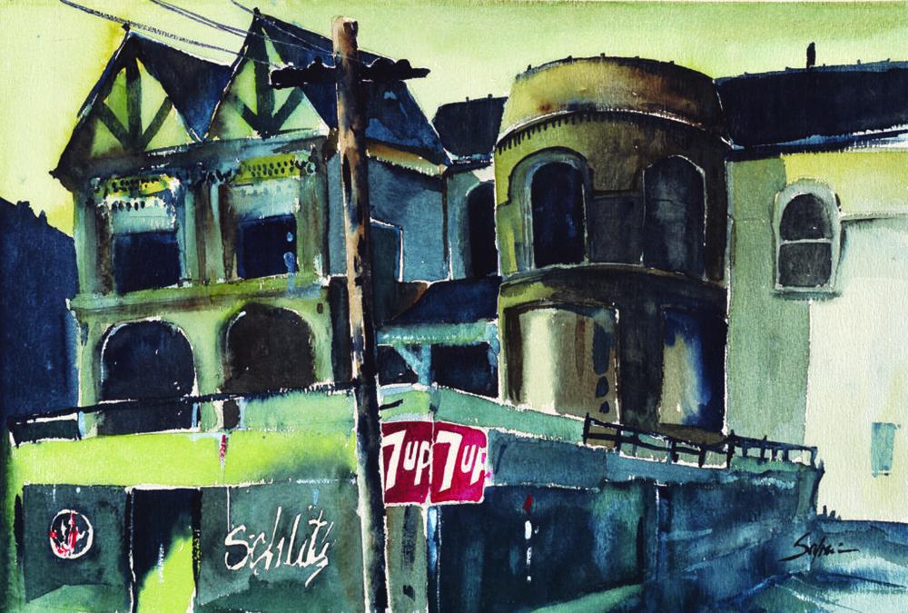 Cozy Bar by John Salminen, watercolor