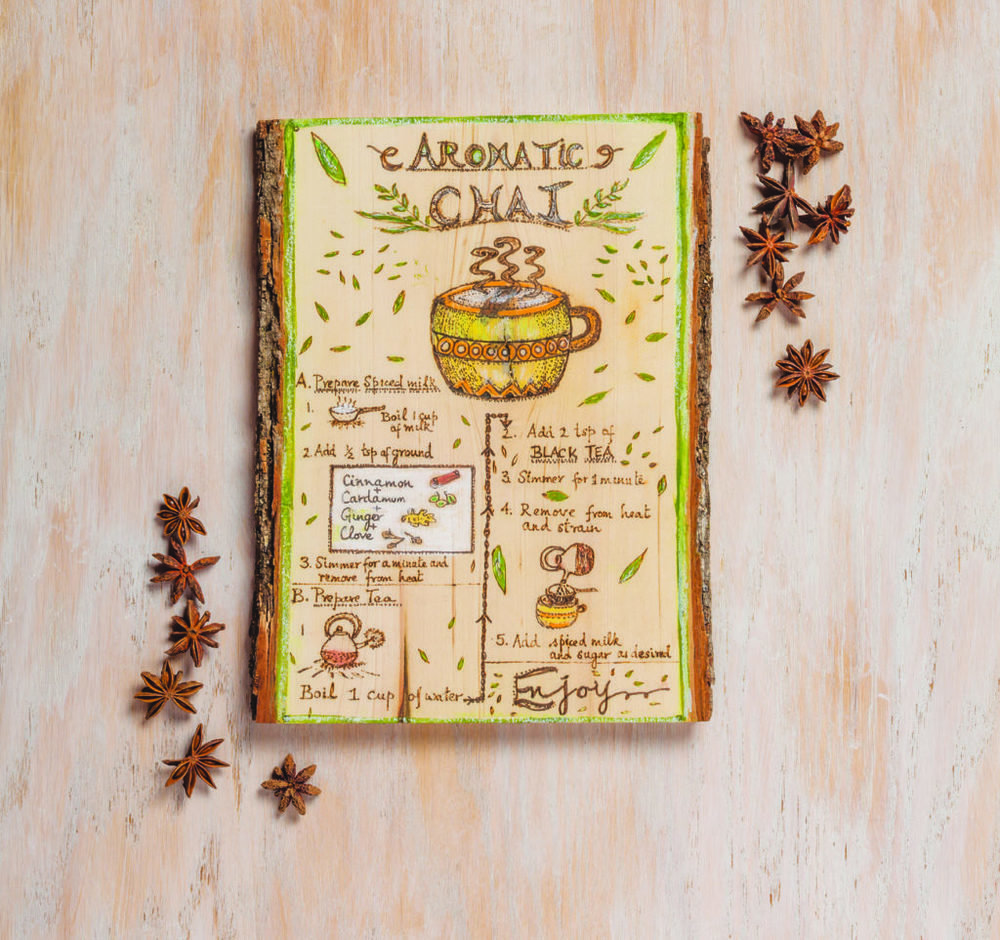mixed-media art recipe card chai