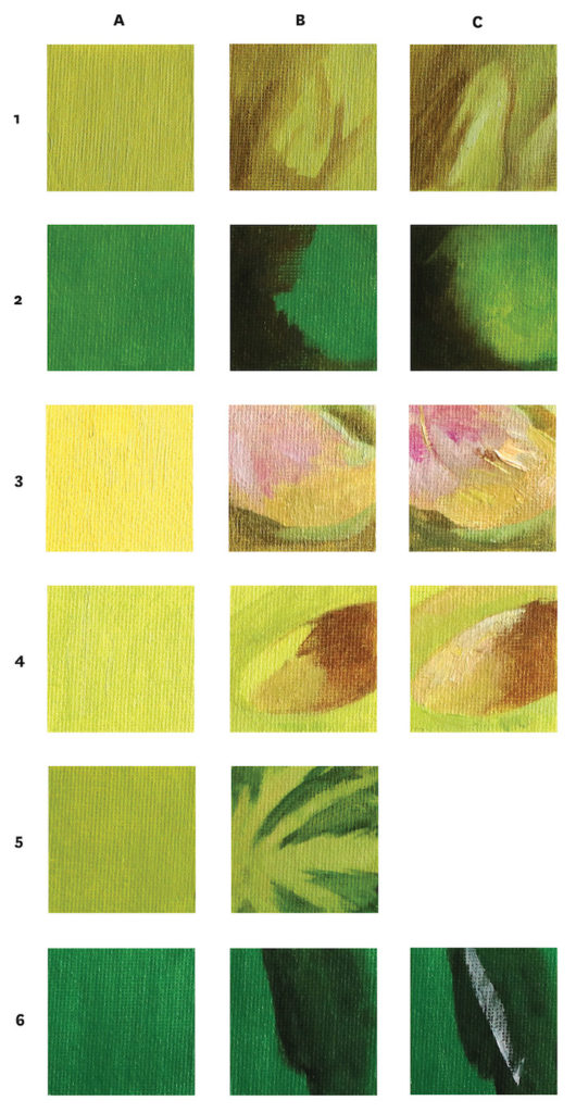 Swatch Grid for Summer Still Life Demo | Mixing Greens | Artists Network