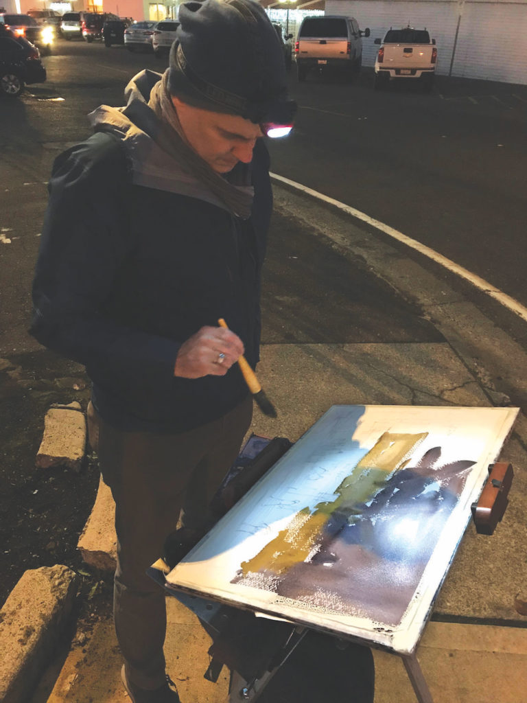 Photo of Ron Stocke with head lamp | Painting at Night on Location | Shining a Light on Key Tips and Tools