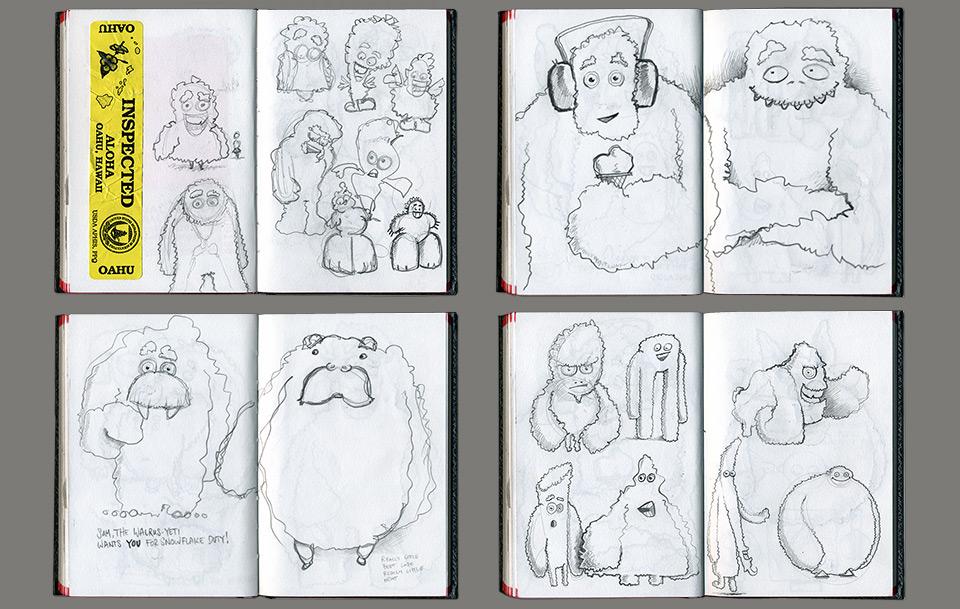 Yeti sketches by Stefan G. Boucher
