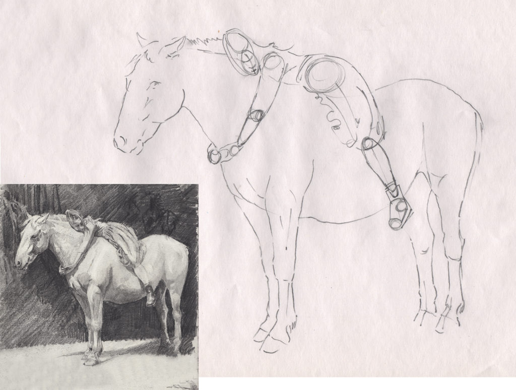 Notice the inset finished drawing I created based on those first maquette sketches.