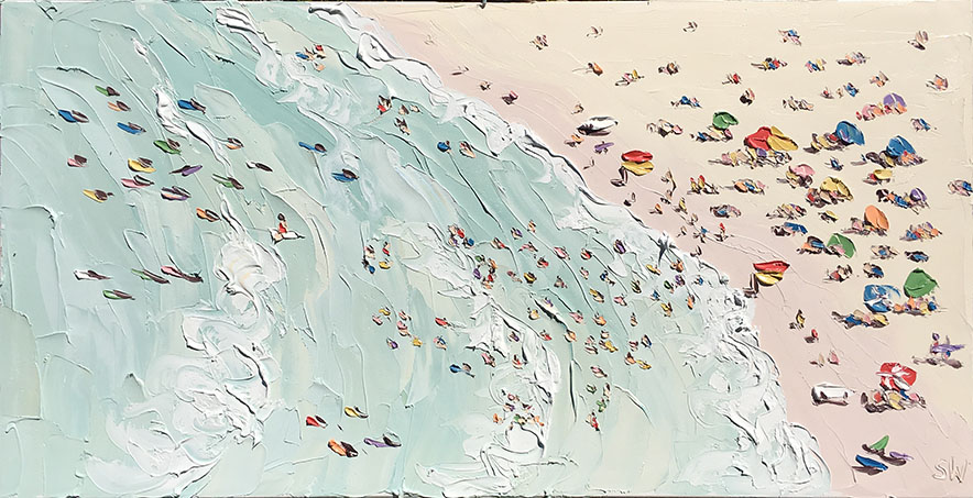 Best Places to sketch: Sally West is one of my favorite artists of right now. I love that she dabs and digs into paint to make these awesome, slightly disorienting beach scenes. Beach (11.1.17) by Sally West. Pick a crowded place to sketch and you'll tons of interesting subject matter in no time.