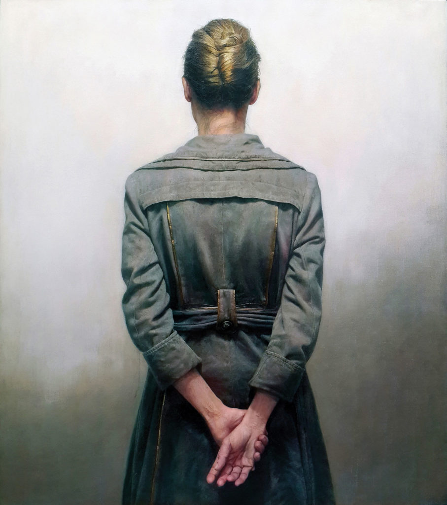 Grey Coat by Marcos Rey, oil on canvas, 38¼x33¾