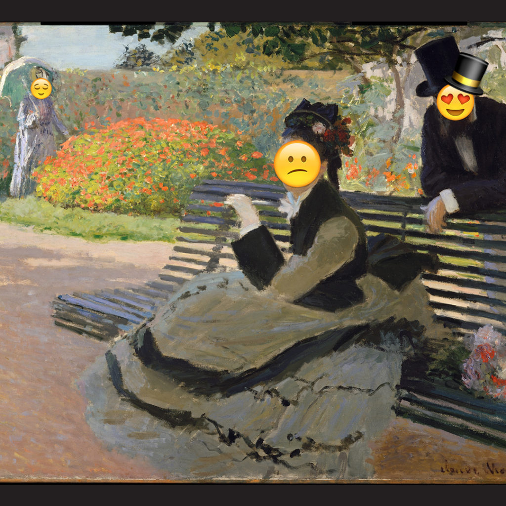 Emoji Day version of Camille Monet on a Garden Bench by Claude Monet