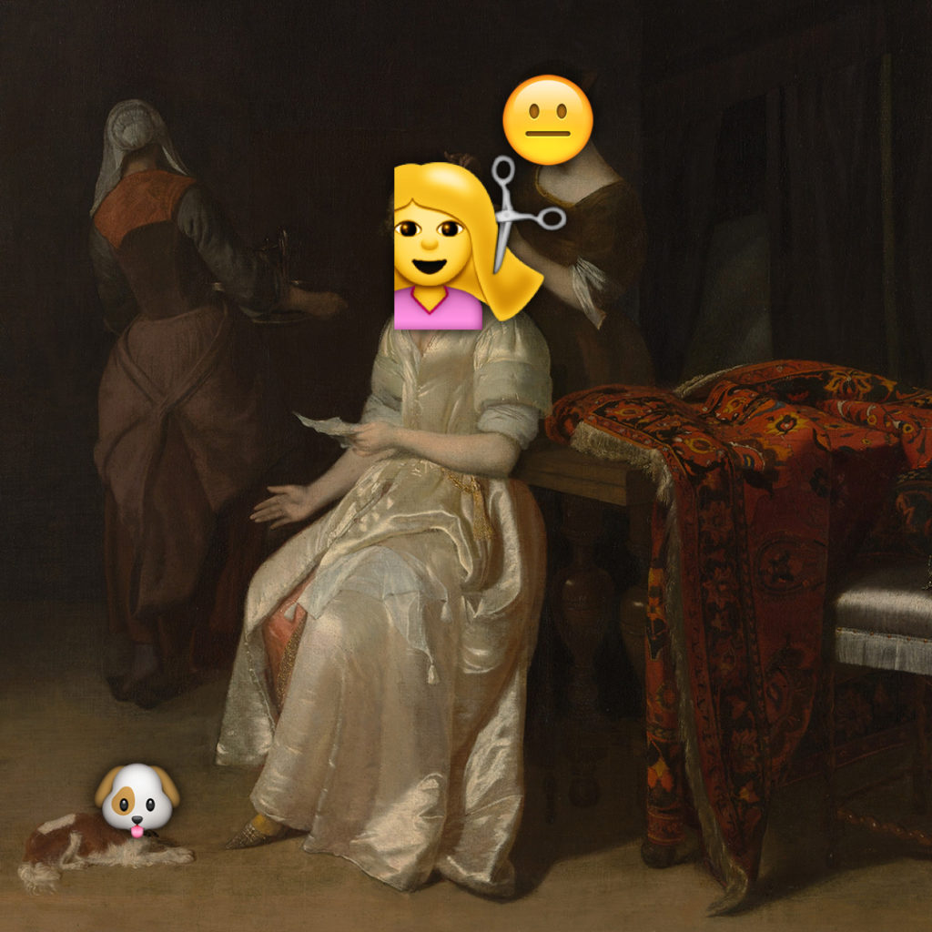Emoji Day version of The Love Letter by Jakob Ochtervelt