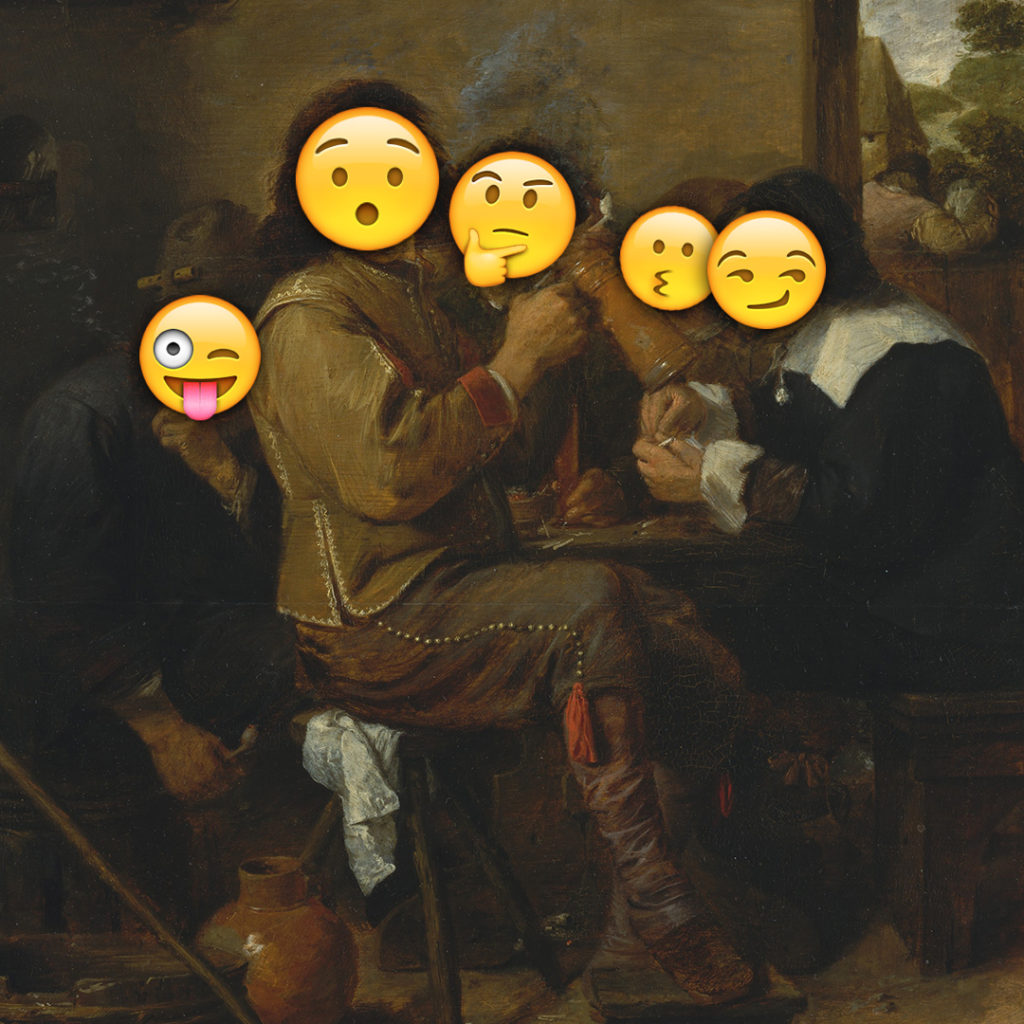 Emoji Day version of Smokers by Adriaen Brouwer