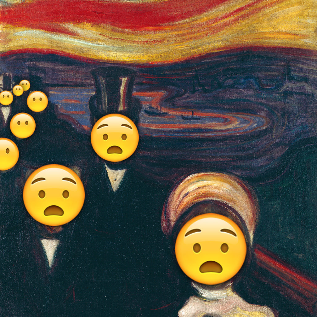Emoji Day version of Anxiety by Edvard Munch