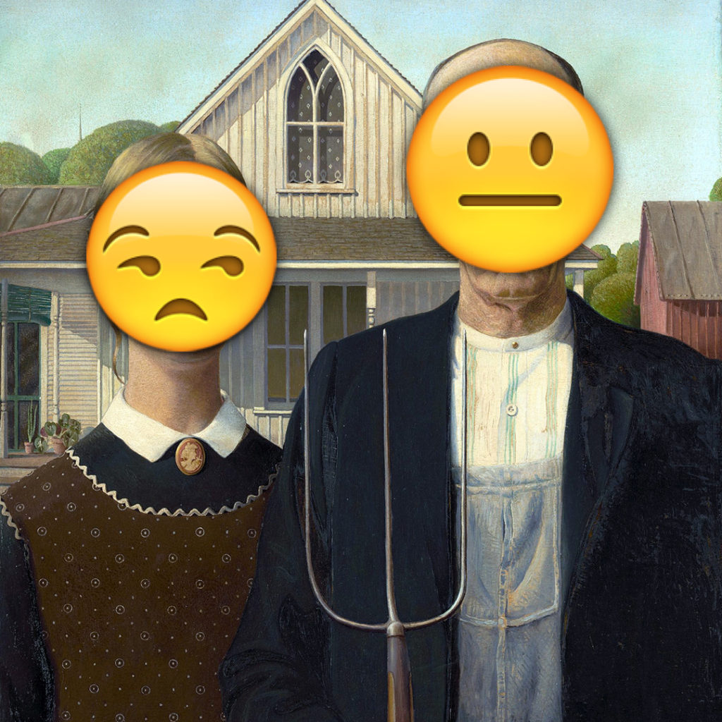 Emoji Day version of American Gothic by Grant Wood