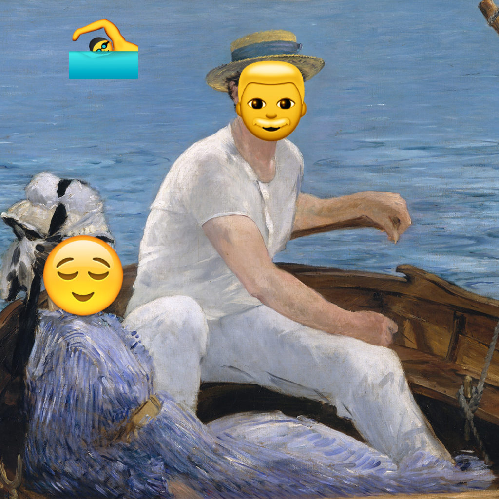 Emoji Day version of Boating by Édouard Manet