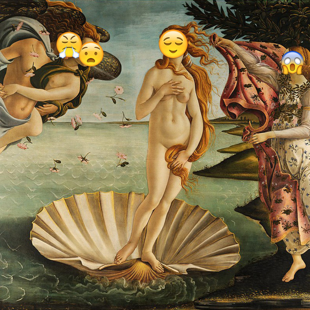 Emoji Day version of Birth of Venus by Botticelli