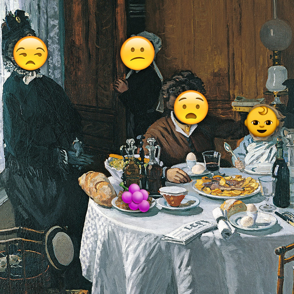 Emoji Day version of The Luncheon by Claude Monet
