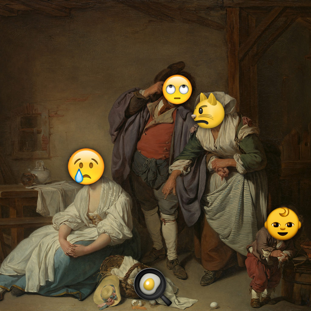 Emoji Day version of Broken Eggs by Jean-Baptiste Greuze