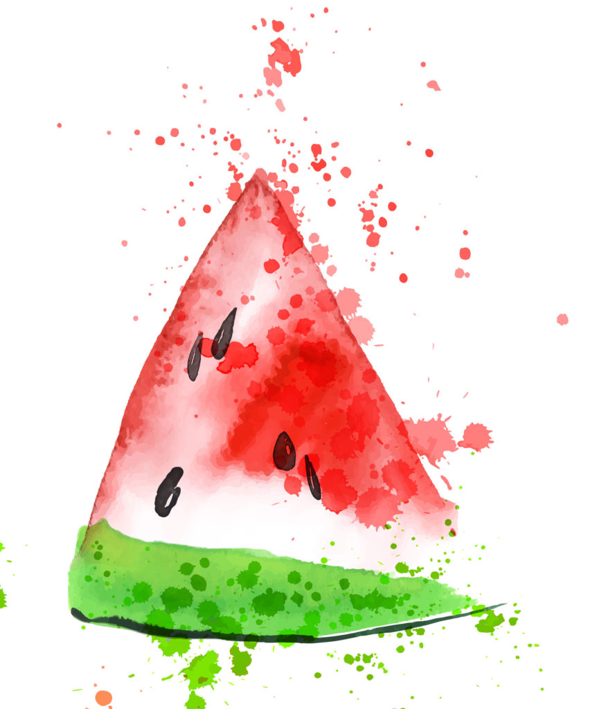 Watercolor shapes come in many forms including flicks! This watermelon slice is juicy and ready to be eaten as those splatters show.