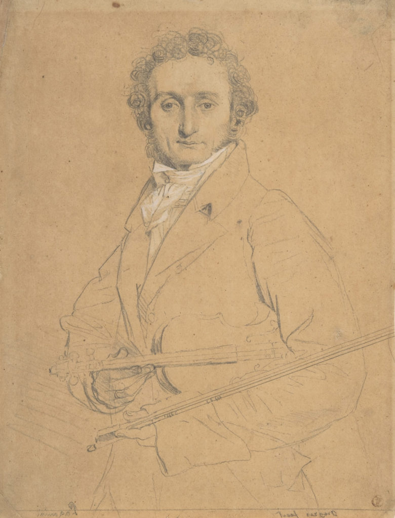 Nicolo Paganini (virtuoso violinist and composer) by Jean-AugusteDominique Ingres counterproof strengthened with graphite and white chalk on tracing paper, 9⁷⁄₁₆x7⁵⁄₁₆