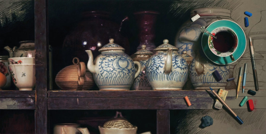 Painting Old Chinese Pottery by Aurelio Rodríguez López, pastel on paper, 17¾x35½