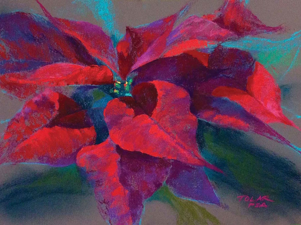 Poinsettia Warmth by Jude Tolar | Poinsettia | 5 Pastel Color Palettes for 5 Floral Favorites | Artists Network