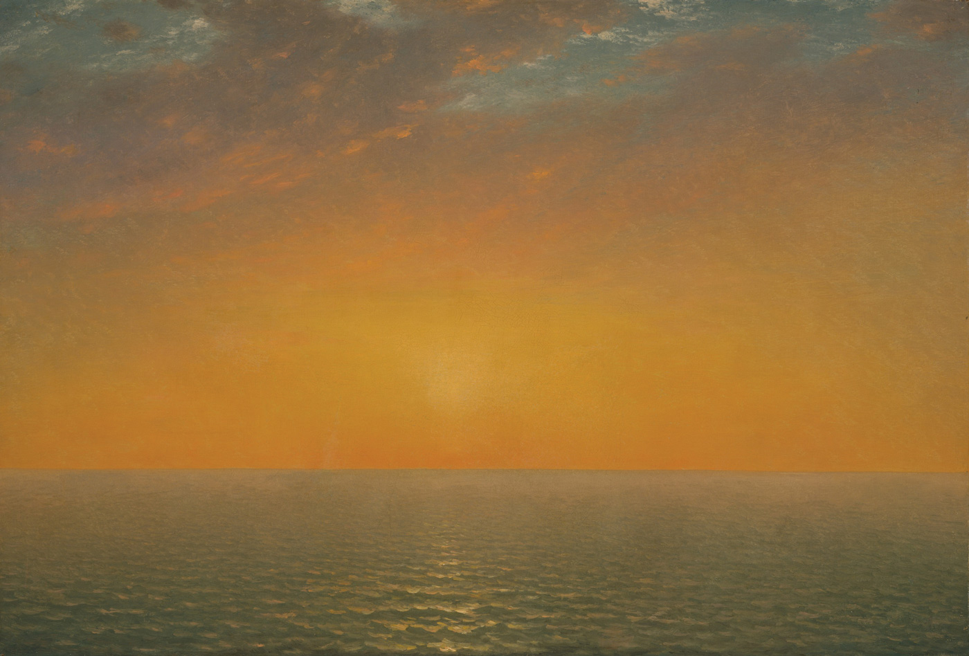 Sunset orange color story: Sunset on the Sea by John Frederick Kensett 1872; oil on canvas,