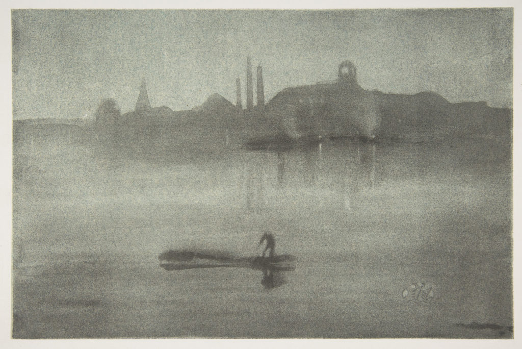 Nocturne (Nocturne: The Thames at Battersea) by James McNeill Whistler 1878; lithotint with scraping on a prepared half-tint ground, second state of two, printed in soft gray-black ink on pale-blue laid chine mounted on ivory wove plate paper; 13½ x19⁵⁄₁₆