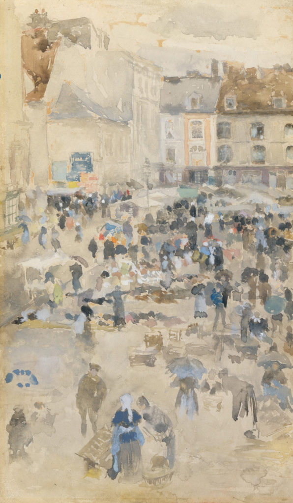 Variations in Violet and Grey—Market Place, Dieppe by James McNeill Whistler 1885; gouache and watercolor on off -white wove paper, mounted on academy board; 7⁵⁄₁₆x5