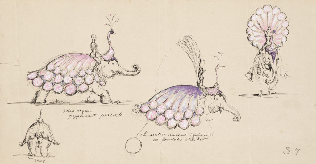 "Peppermint Peacock Elephants -- a sketch from Miles White, a costume designer whose work is on view in ""A Kaleidoscope of Color: The Costume Designs of Miles White"" at the John and Mable Ringling Museum of Art."