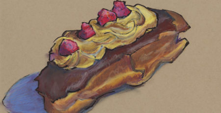 Art Sketches from Donuts: A quick brush pen and Caran d'Ache Neocolor II (water soluble crayons, here used drily) sketch of a raspberry topped long-john donut on Strathmore 400 series Toned Mixed Media paper.