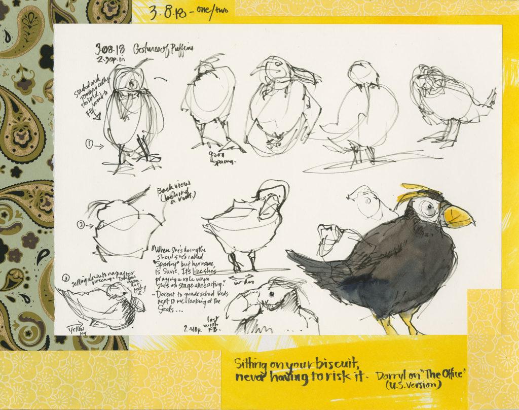 Puffin art sketches by Roz Stendahl
