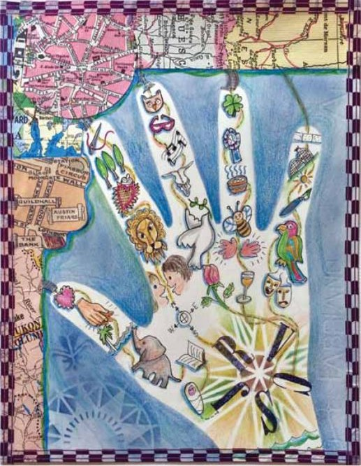 "Map of My Hand Holders by Jill M. Berry, mixed media and collage on paper 10"" × 8"""