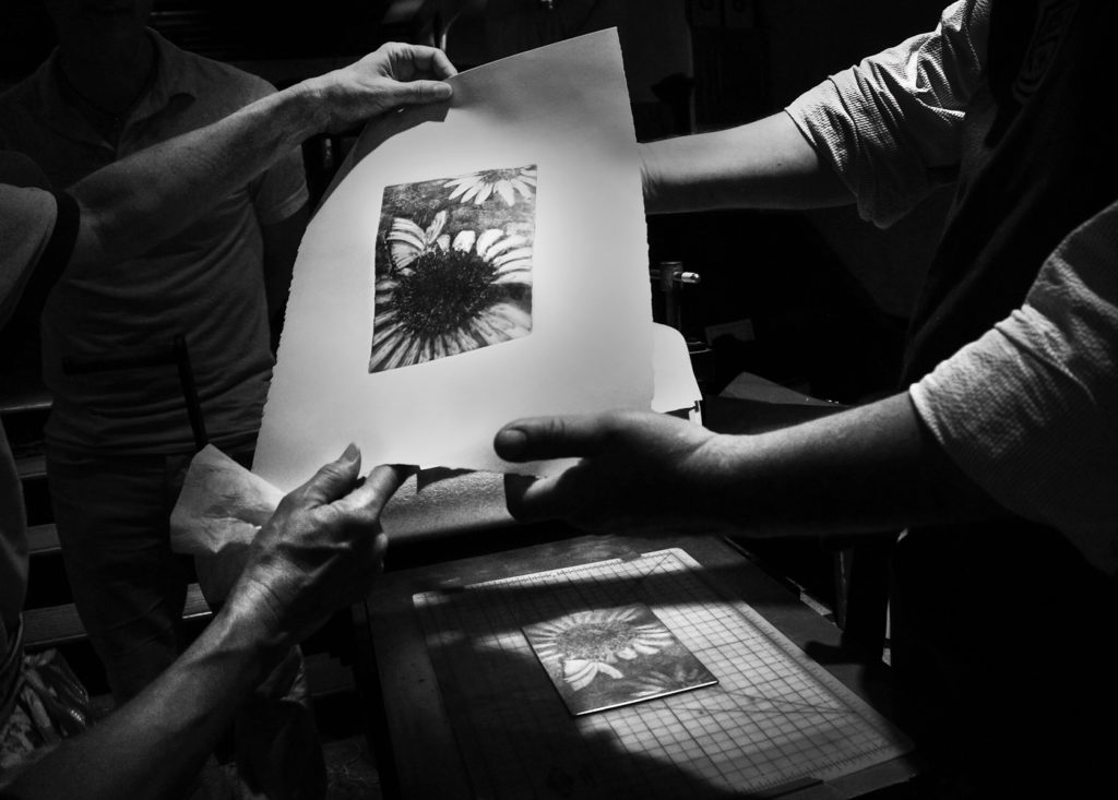 Printmaking is often a collaborative art-making experience.