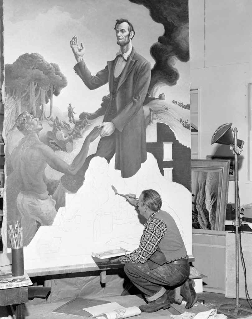 Benton in his Kansas City studio, working on his mural Lincoln (1955)