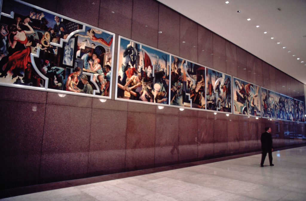 America Today (detail) by Thomas Hart Benton displayed in the lobby of the AXA Equitable Life Insurance Company, New York City (photo 1991); 1930–31; egg tempera and oil over 10 wood panels, 92x1,228 (overall)