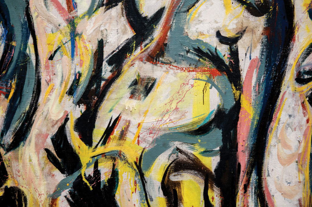 This detail of Mural, resembling a horse's head, intimates Pollock's original intent for the work.