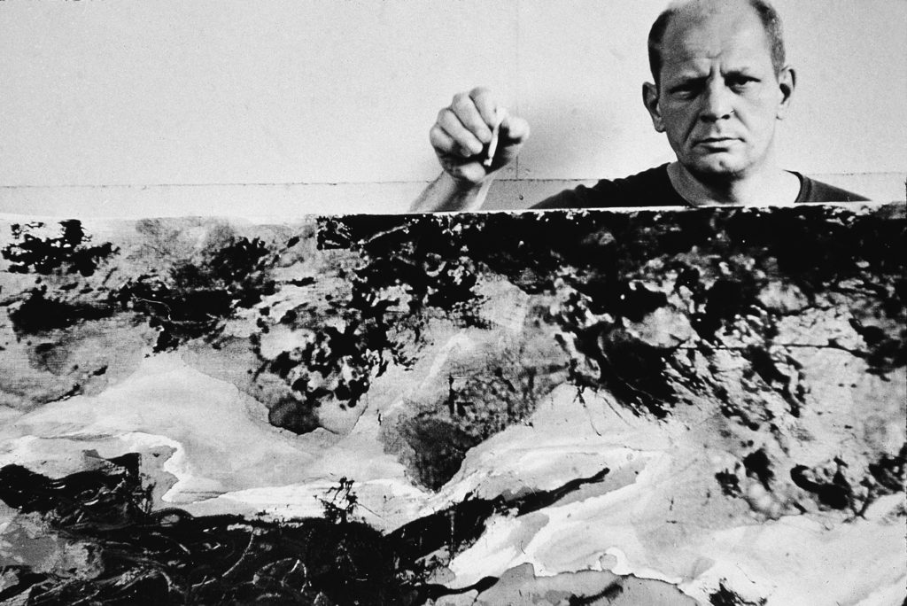 LEFT In 1953, Tony Vaccaro shot this picture of Pollock in his studio in Springs, near East Hampton, New York, for an article in Look magazine that was never published.