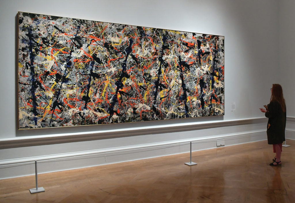 Blue Poles by Jackson Pollock 1952; enamel and aluminum paint on canvas, 83½x176¾ Pictured in a 2016 exhibition at the Royal Academy of Arts, in London