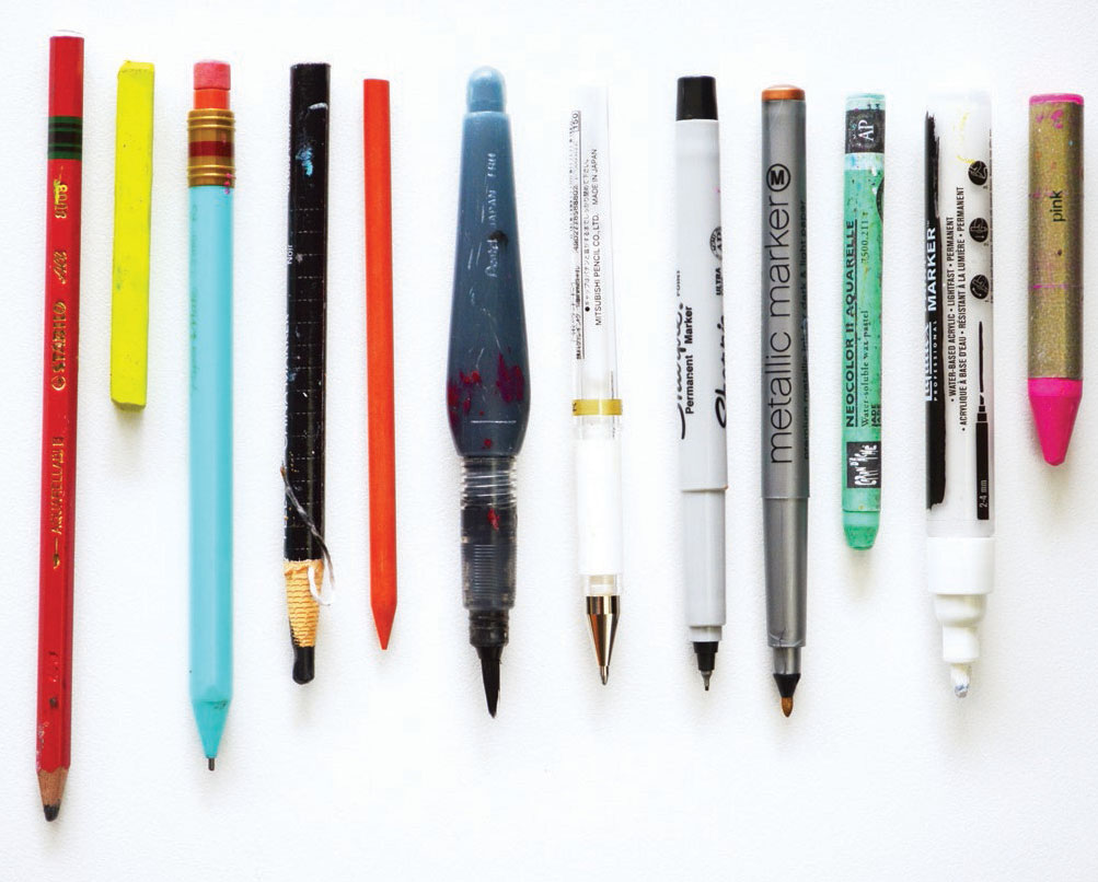 Common tools for mixed media--writing implements