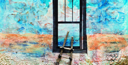 "My painting Milagro, which means miracle, is where I found the ladder leading up to the window to the sky. It is inspired by a real place in northern New Mexico. Milagro by Sandra Duran Wilson, mixed media on panel 14"" × 14"""