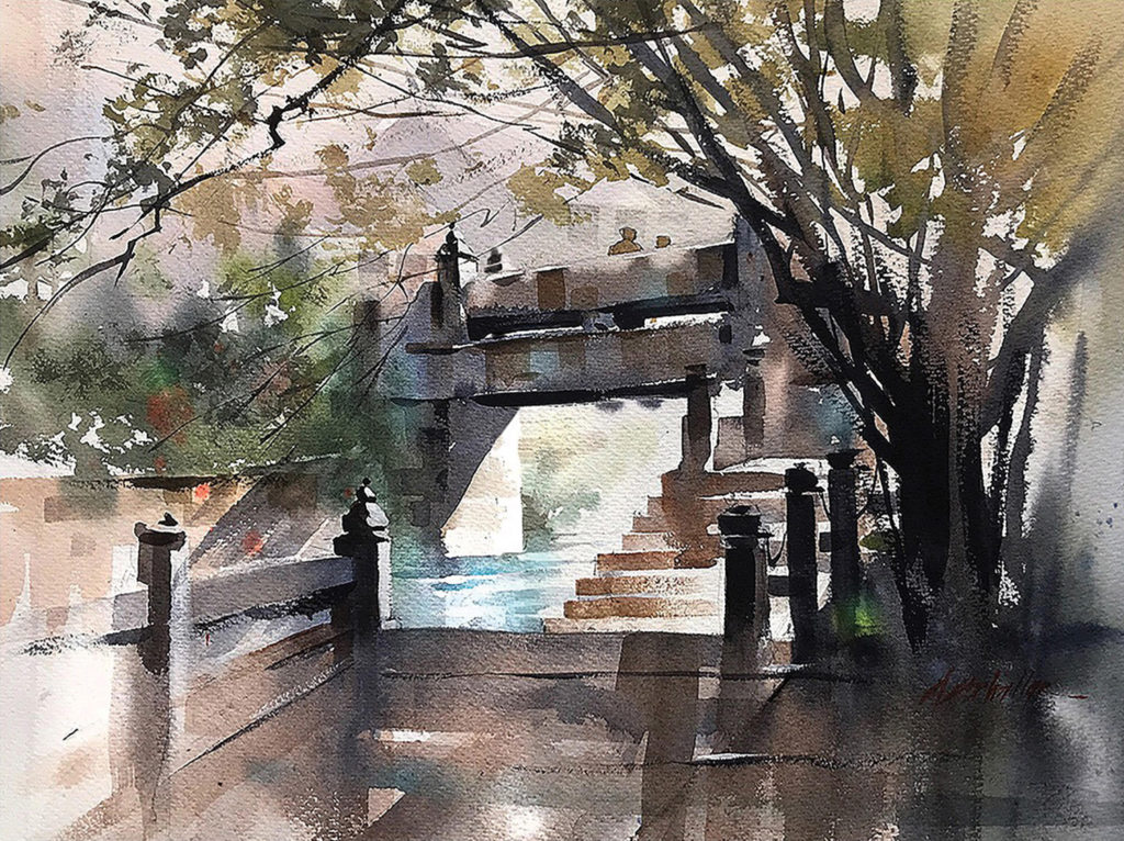 Footbridge by Thomas W. Schaller, watercolor painting